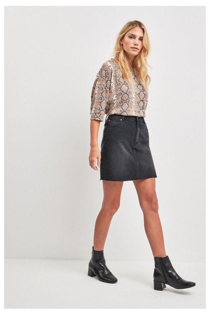 Womens F&F Black Denim Skirt -  Black