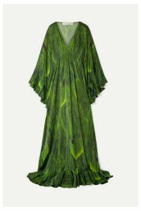 Naeem Khan - Draped Printed Silk-charmeuse Gown - Green