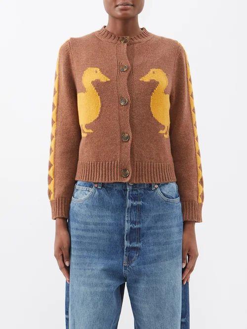 Gucci - Alsacienne Print Linen Blend Kimono Coat - Womens - Yellow Multi