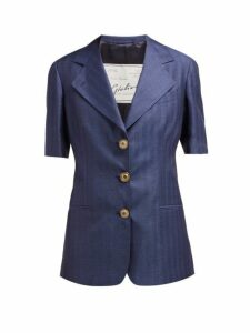 Giuliva Heritage Collection - The Ginestra Cashmere And Linen Blend Blazer - Womens - Navy