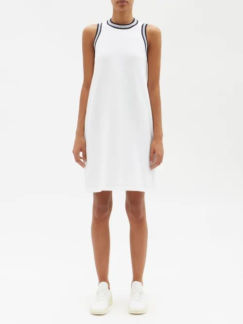 Vika Gazinskaya - Draped Polka Dot Crepe Midi Skirt - Womens - Grey Multi