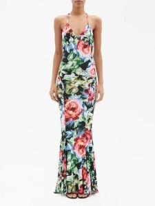 Vika Gazinskaya - Tie Panel Coated Cotton Coat - Womens - Black