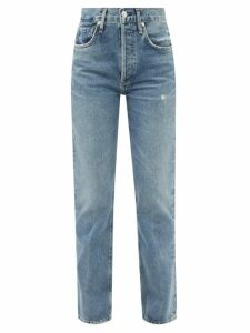 Symonds Pearmain - Patchwork Denim Pencil Skirt - Womens - Red