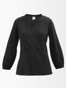 Raey - V-neck Tinsel Midi Slip Dress - Womens - Black