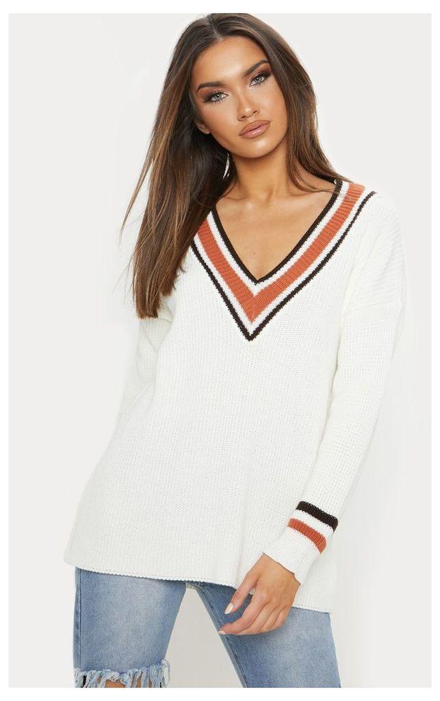 Cream Oversized Varsity Knitted Jumper, White