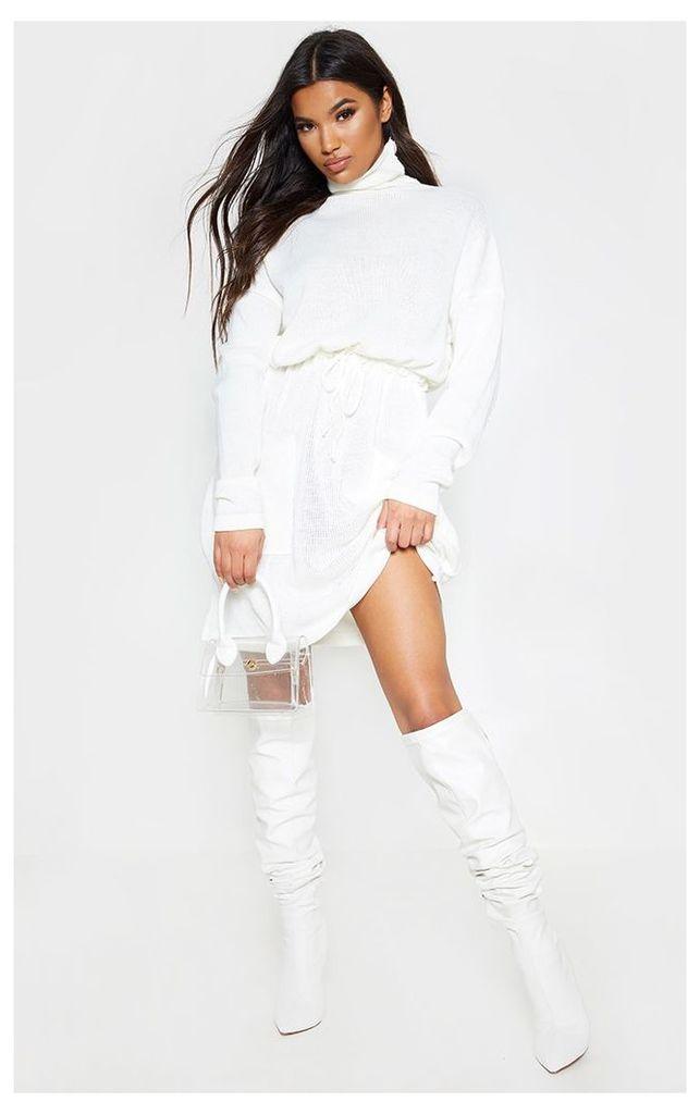 Cream Ruched Waist Knitted Dress, White