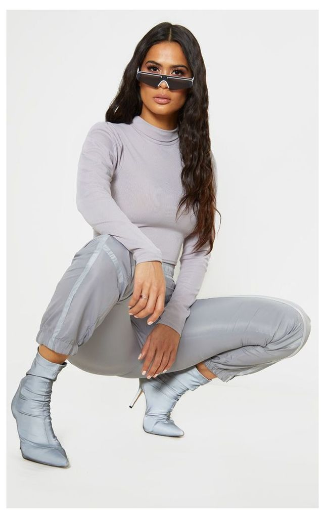 Grey Rib Roll Neck Puff Long Sleeve Crop Top, Grey