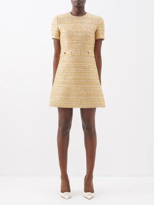 Muuñ - Mini Caba Striped Canvas And Straw Bag - Womens - Yellow Multi