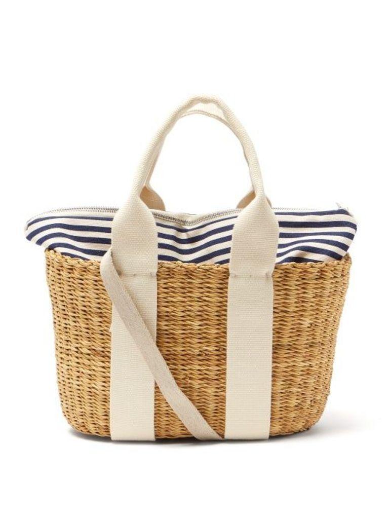 Muuñ - Caba Mini Canvas And Woven Straw Bag - Womens - Navy Multi