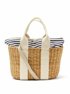 Muuñ - Caba Mini Canvas And Woven Straw Bag - Womens - Navy Multi