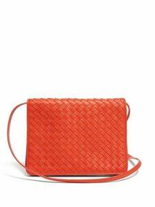 Bottega Veneta - Intrecciato Woven Leather Cross Body Bag - Womens - Red