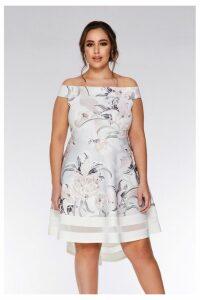 Womens Quiz Curve Bardot Dip Hem Dress -  Grey