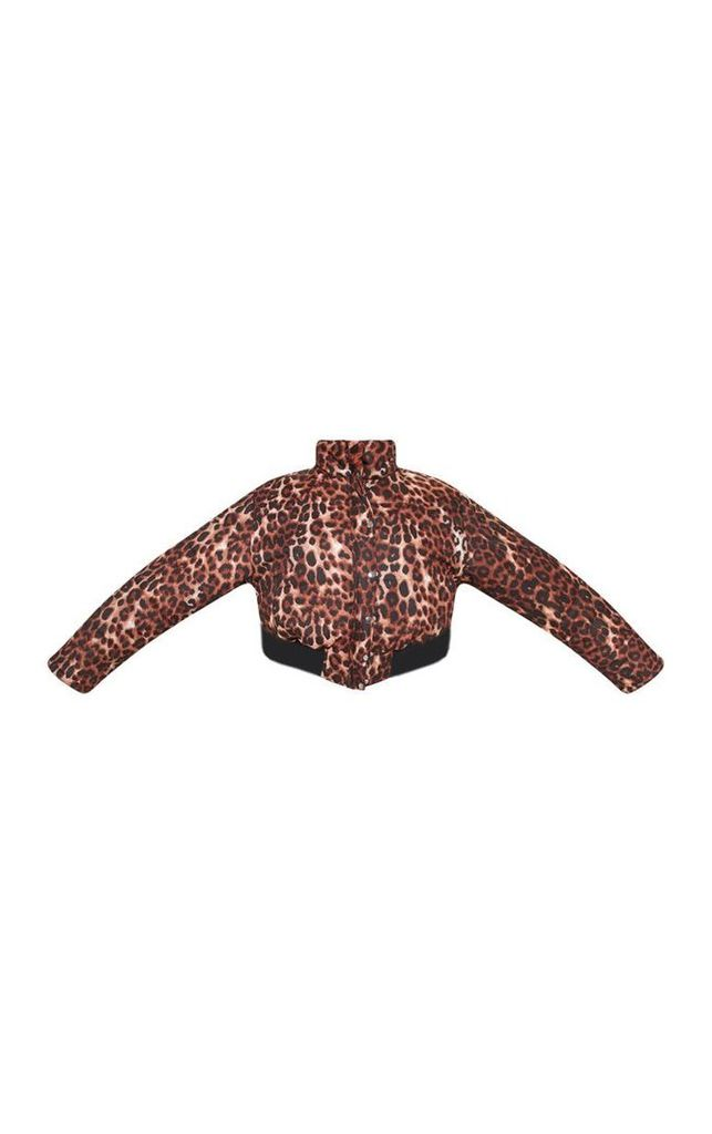 Plus Brown Leopard Print Cropped Puffer, Brown