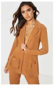 Tan Pocket Detail Woven Blazer, Brown