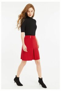 Womens Oasis Red Button Detail Skirt -  Red