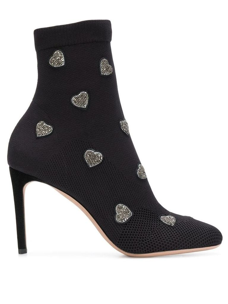 Valentino Valentino Garavani heart embroidered ankle boots - Black