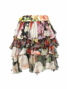 Dolce & Gabbana Short Floral Ruffled Skirt
