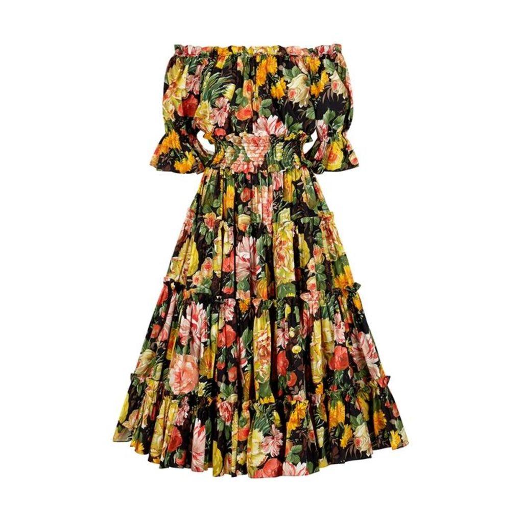 Dolce & Gabbana Floral-print Cotton Midi Dress