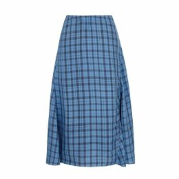 Acne Studios Blue Checked Midi Skirt