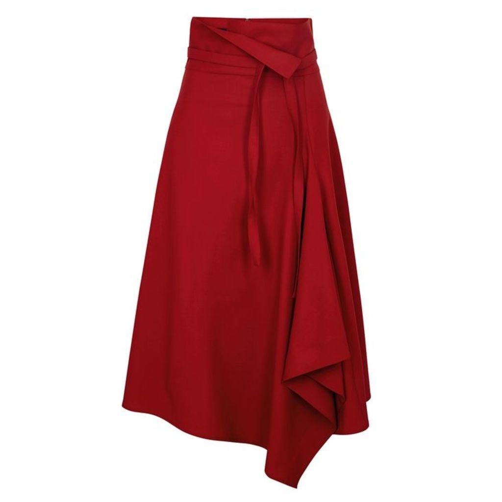 Eudon Choi Amelia Red Stretch-wool Skirt