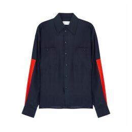 Victoria, Victoria Beckham Navy Colour-block Silk Shirt