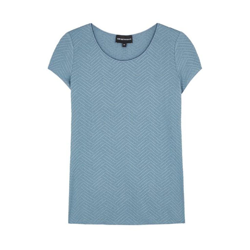Emporio Armani Blue Smocked Top