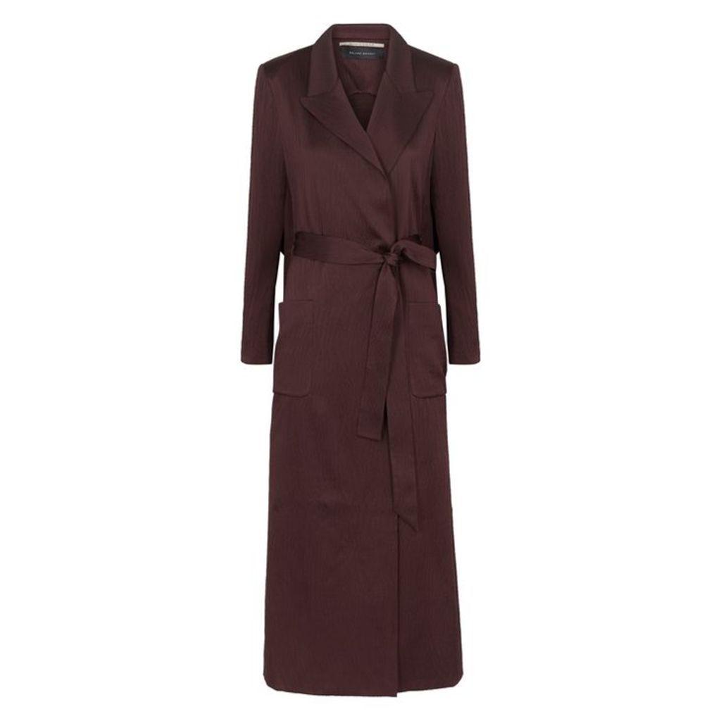 Roland Mouret Heathcoat Bordeaux Silk Trench Coat