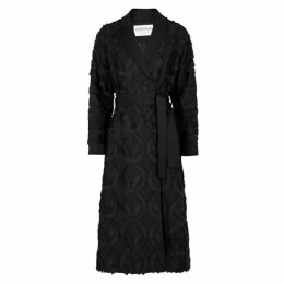 OSMAN Black Fringed Linen-blend Coat