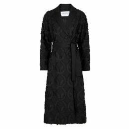 OSMAN Black Fringed Linen-blend Coat