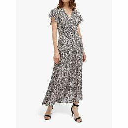 French Connection Aubi Floral Maxi Dress, Utility Blue/Classic Cream