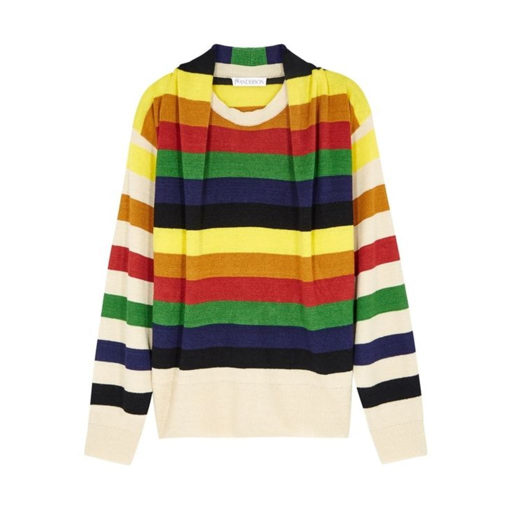 JW Anderson Striped Fine-knit Linen Jumper