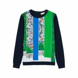 Tory Burch Printed Silk And Cotton Jumper