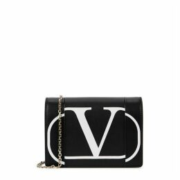Valentino Garavani Black Logo Leather Clutch