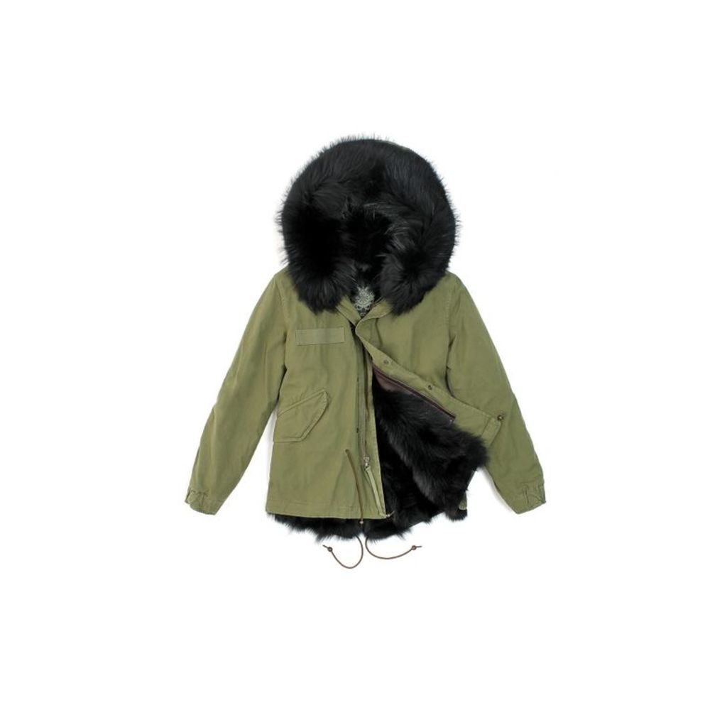 Mr & Mrs Italy Army Mini Parka Patch Fox Raccoon Fur