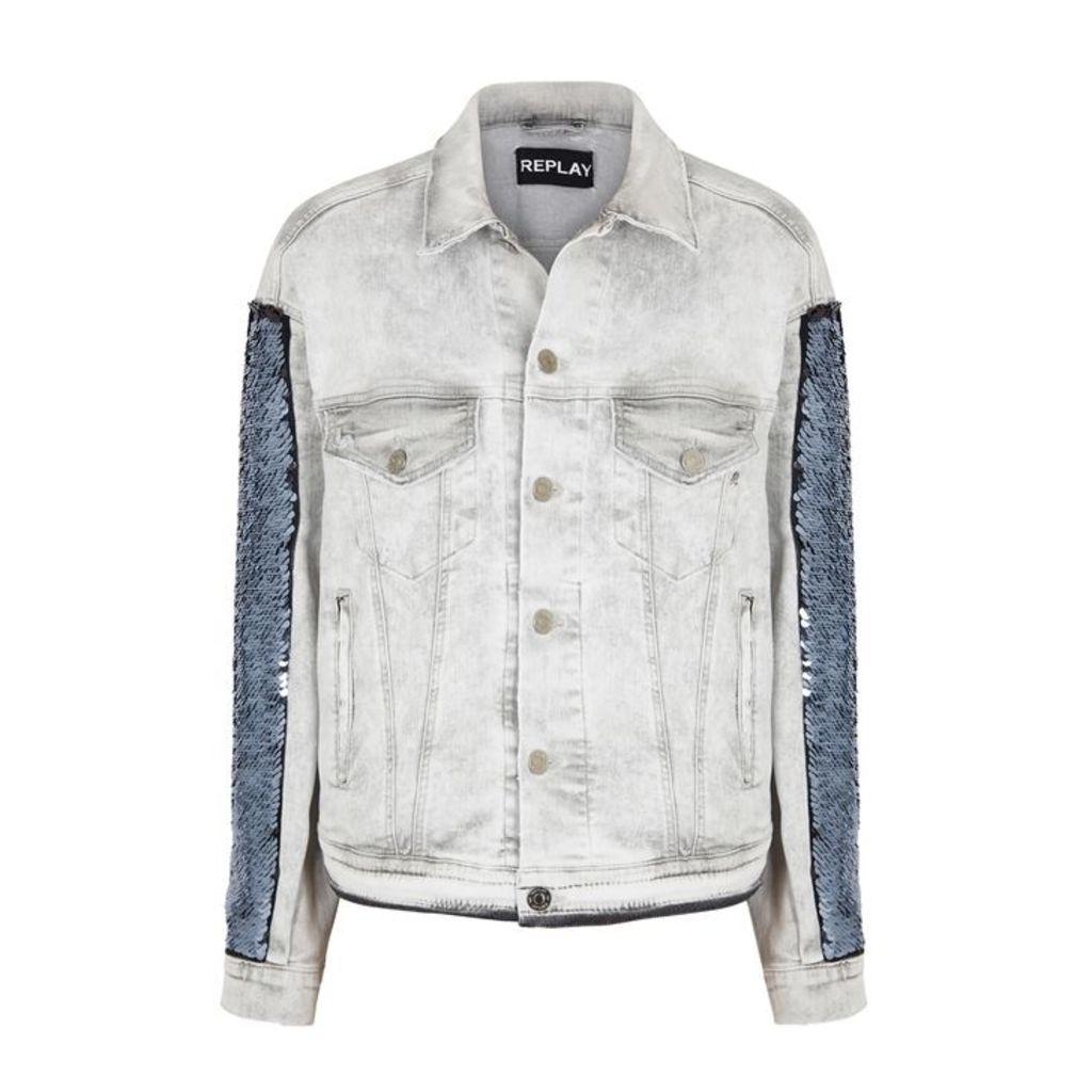 Replay Grey Sequin-embellished Denim Jacket