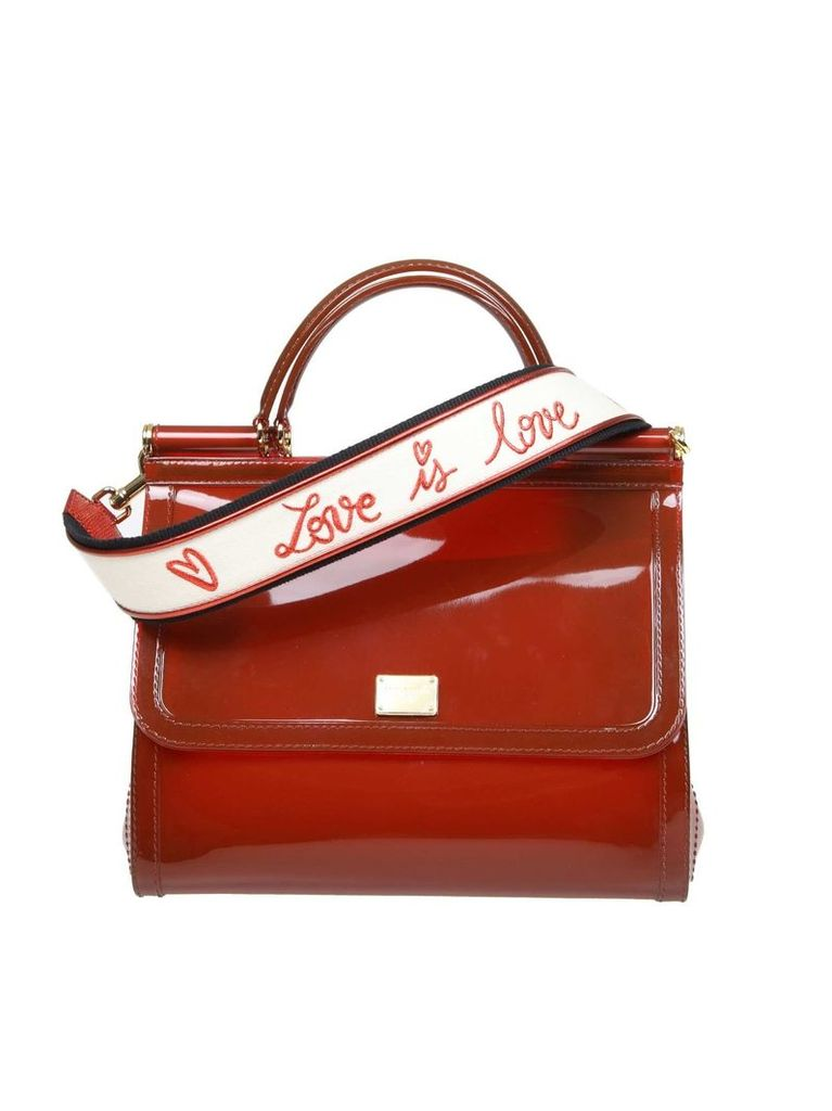 Dolce & Gabbana Sicily Hand Bag In Rubber Color Bordeaux