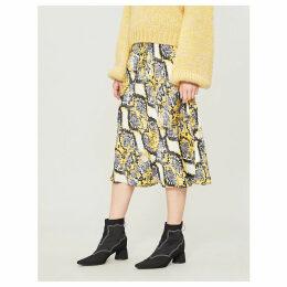 Laila snakeskin-print satin skirt