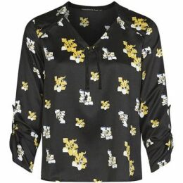 Mado Et Les Autres  Satin effect blouse, flowers print  women's Blouse in Black