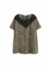 Lace animal print blouse