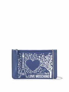 Love Moschino flat Paris clutch - Blue