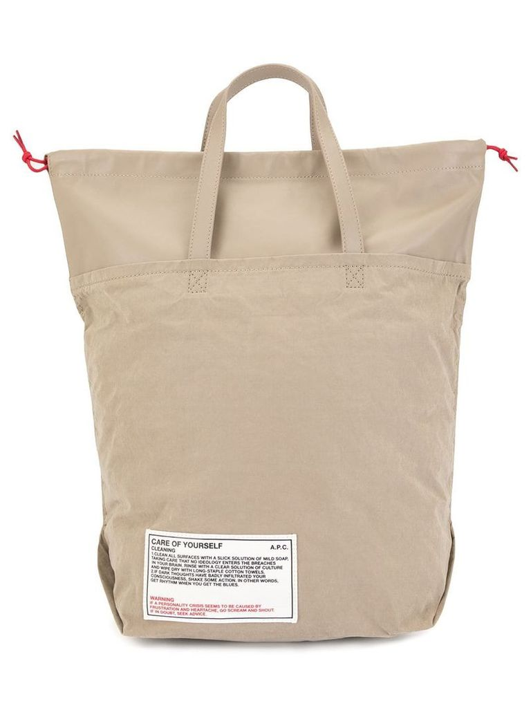 A.P.C. Care For Yourself shopping tote - Neutrals