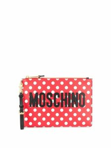 Moschino spotted print logo clutch bag - Red
