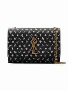 Saint Laurent black and white Kate symbol print leather shoulder bag