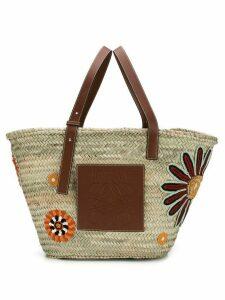 Loewe Basket Flowers Large bag - Neutrals