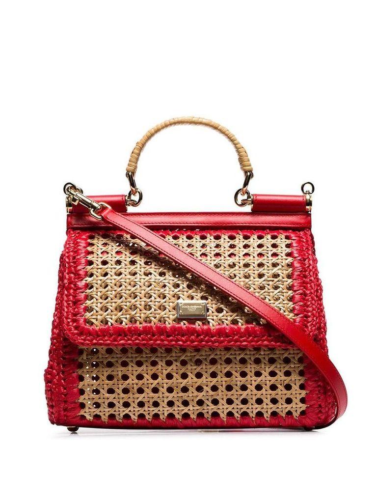 Dolce & Gabbana red Sicily raffia and leather shoulder bag