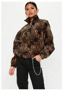 Brown Leopard Print Quilted Windbreaker Jacket, Brown