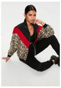 Tall Black Multi Snake Colourblock Windbreaker Jacket, Multi