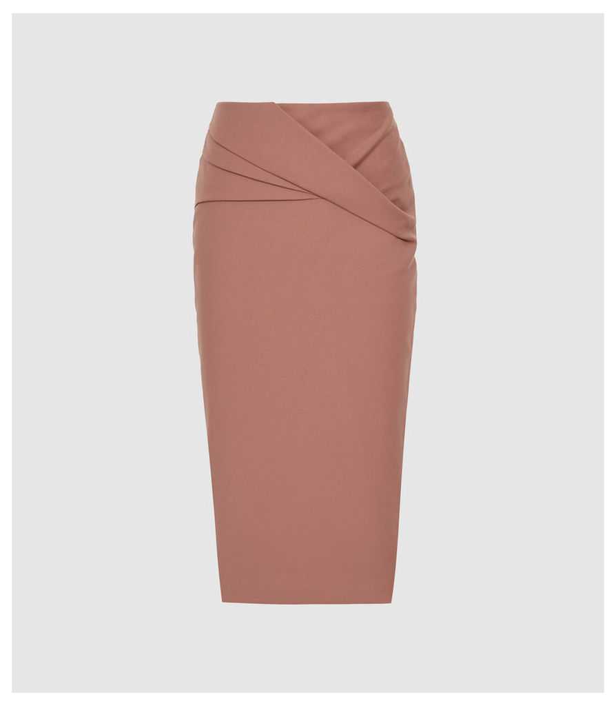 Reiss Icia - Pleat Front Jersey Pencil Skirt in Mink, Womens, Size 14
