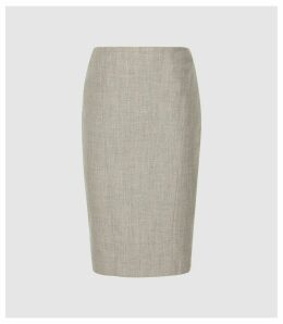 Reiss Hettie Skirt - Wool Blend Pencil Skirt in Soft Grey, Womens, Size 16
