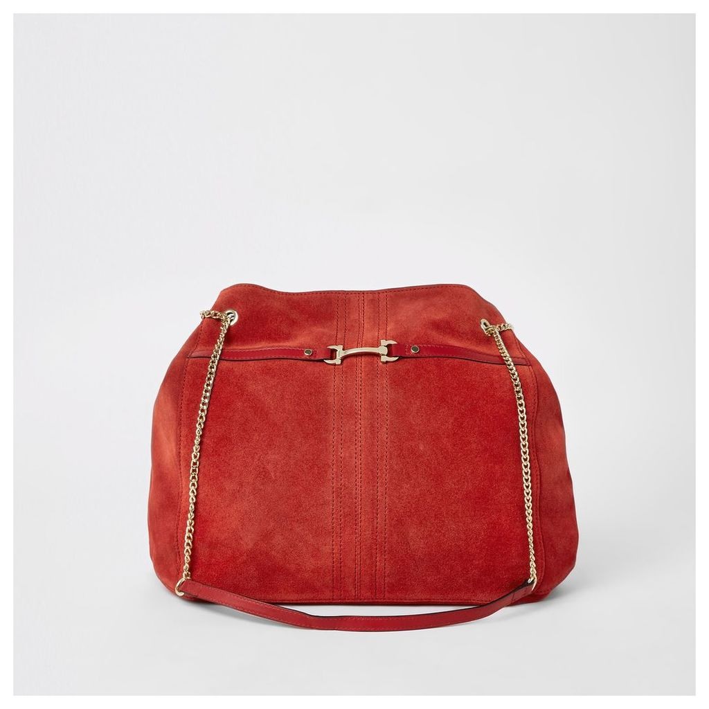 Mens Womens Red suede leather chain slouch bag